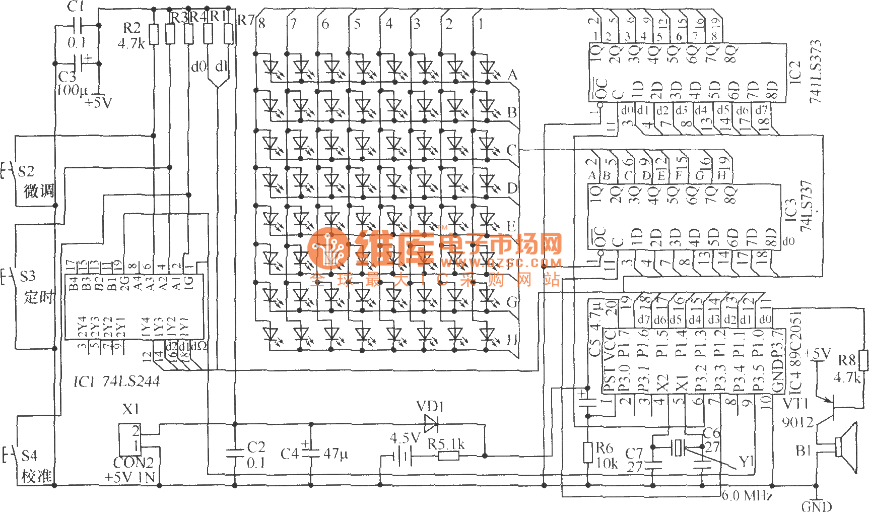 Led Flowing Display Electronic Clock Hardware Circuit