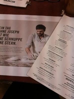 Joseph Brot menu