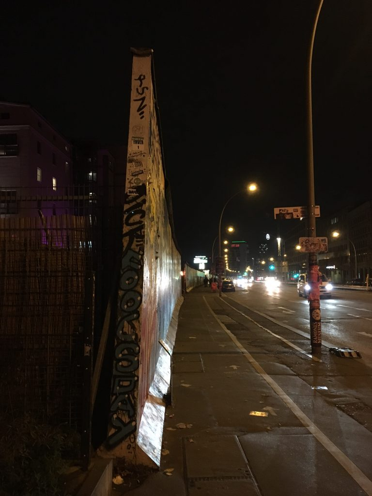 <center> The dividing line of the former Berlin Wall, now the East Side Gallery