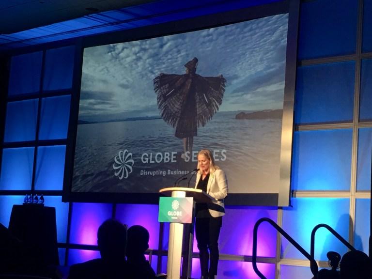 Catherine McKenna speaking at the GLOBE Forum
