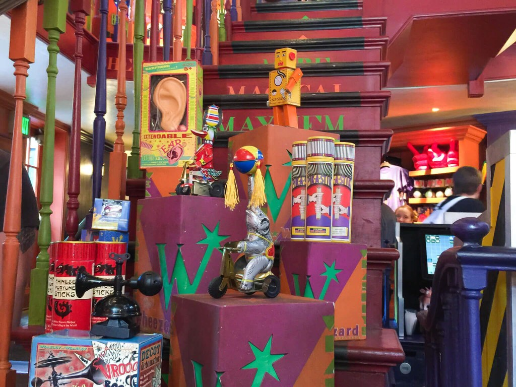 Staircase inside Weasleys' Wizard Wheezes in Diagon Alley at Harry Potter World