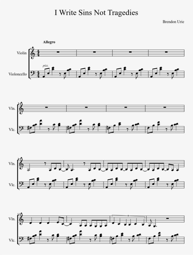 I Write Sins Not Tragedies Sheet Music Composed By - Write Sins
