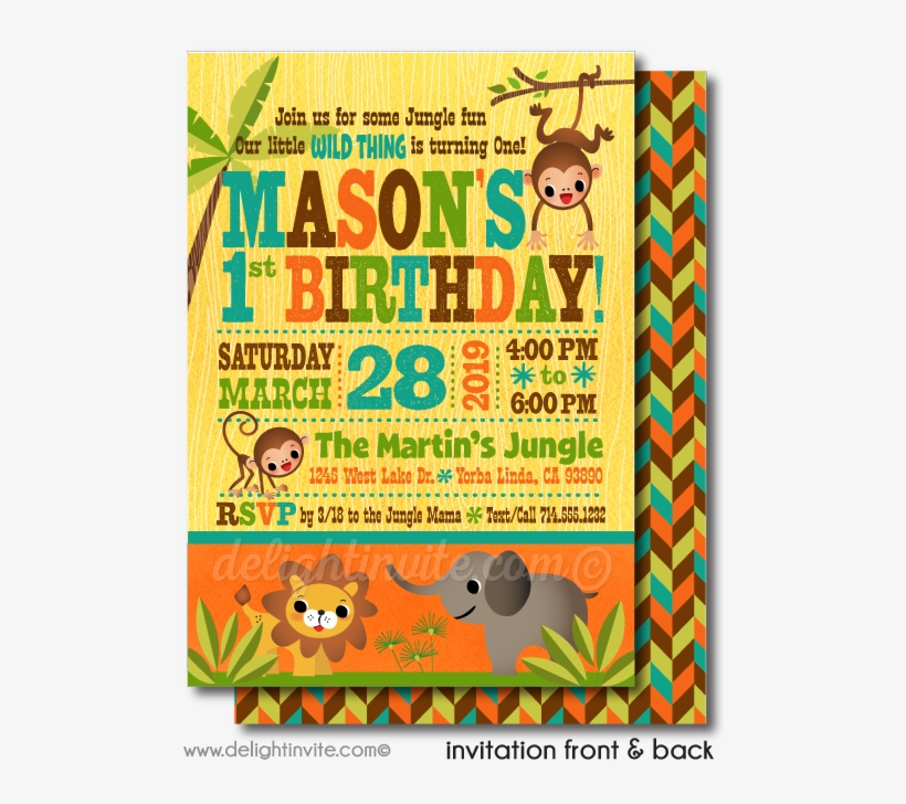 jungle safari 1st birthday invitations
