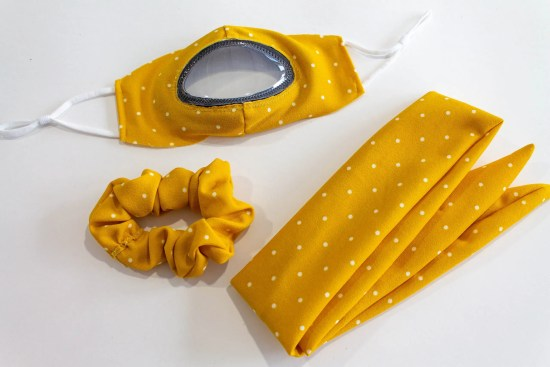 See Me Clear cloth mask accessories kit yellow with white dots