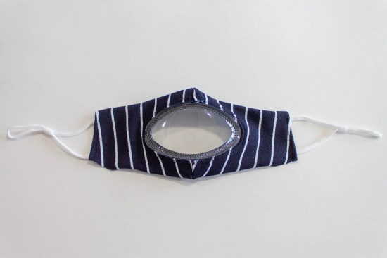 See Me Clear cloth mask navy blue with white stripes