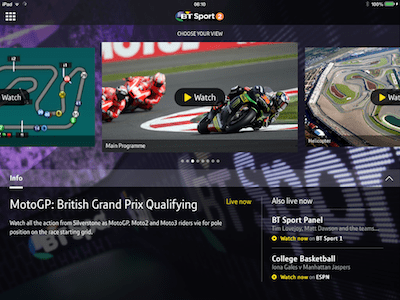 BT will use its smartphone and tablet app to provide enhanced coverage of MotoGP