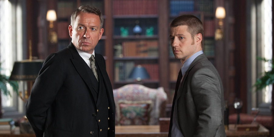 Sean Pertwee as Alfred Pennyworth and Ben McKenzie as James Gordon. Image: Channel 5