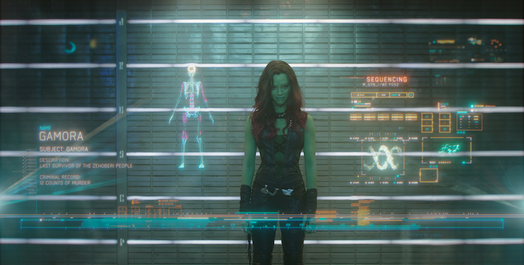 Zoe Saldana as Gamora.  Image: Marvel