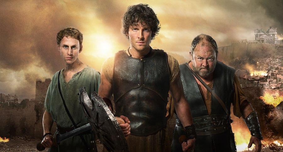 Pythagoras (ROBERT EMMS) , Jason (JACK DONNELLY) , Hercules (MARK ADDY)  Image: BBC/Urban Myth Films