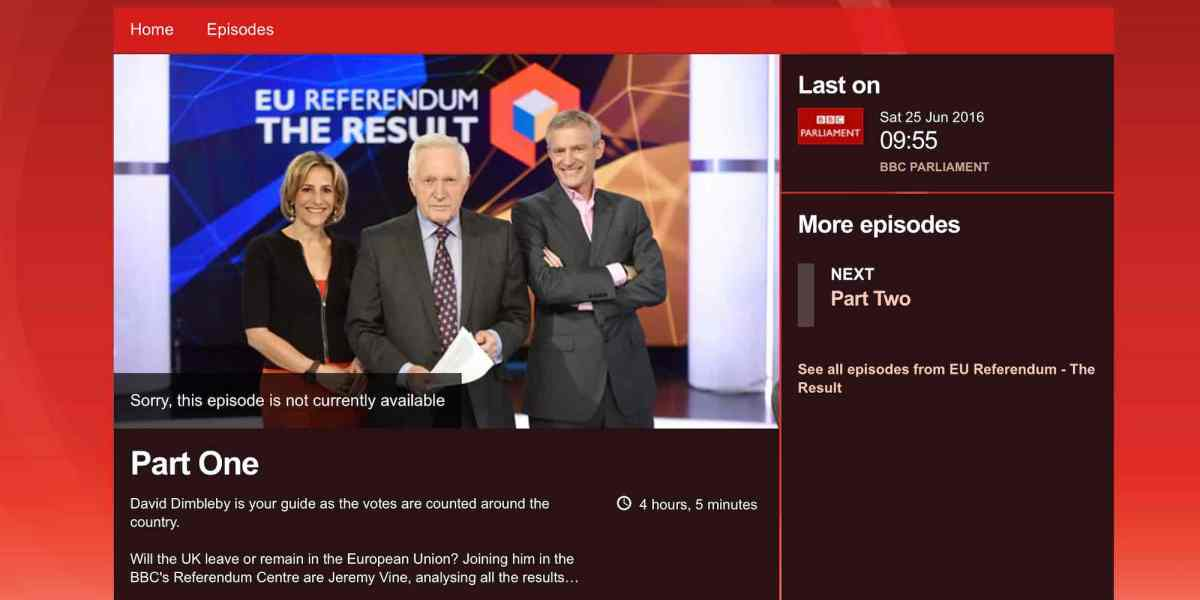 Why isn't the BBC's Brexit results coverage available on iPlayer?