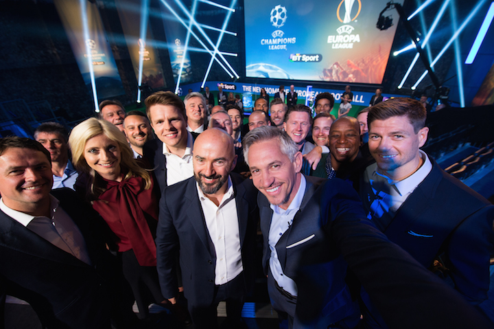 BT Sport presenters and pundits mark the launch of BT Sport Europe.