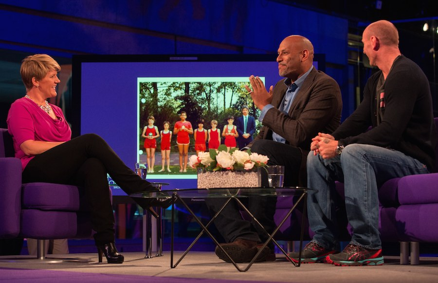 Clare Balding speaks to  John Amaechi and Gareth Thomas. Image: BT Sport