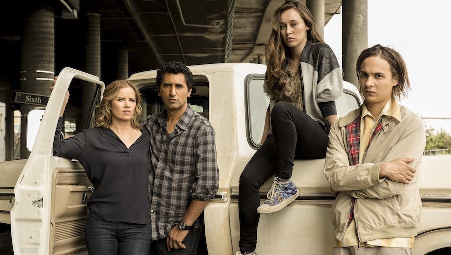Kim Dickens as Madison, Cliff Curtis as Travis, Alycia Debnam Carey as Alicia and Frank Dillane as Nick. Photo Credit: Frank Ockenfels 3/AMC