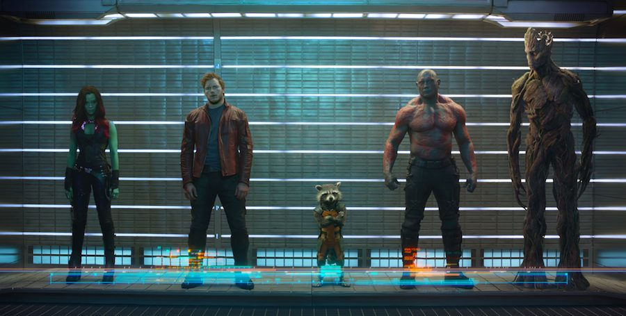 Marvel's Guardians Of The Galaxy..L to R: Gamora (Zoe Saldana), Peter Quill/Star-Lord (Chris Pratt), Rocket Raccoon (voiced by Bradley Cooper), Drax The Destroyer (Dave Bautista) and Groot (voiced by Vin Diesel)..Photo: Marvel 2014