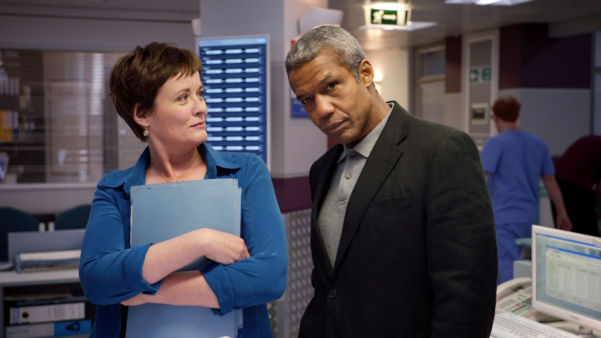 CATHERINE RUSSELL and HUGH QUARSHIE in Holby City. Image: BBC