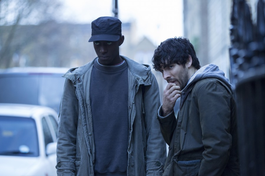 L-R Ivanno Jeremiah (Max) and Colin Morgan (Leo). Image: Channel 4.