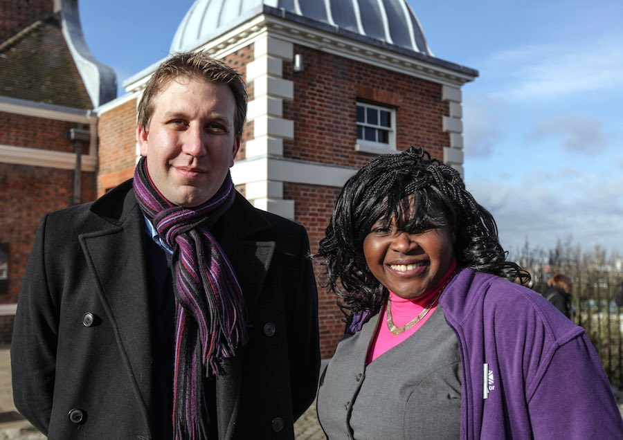 Dr Maggie Aderin-Pocock with Sky at Night colleague Chris Lintott. Image: BBC