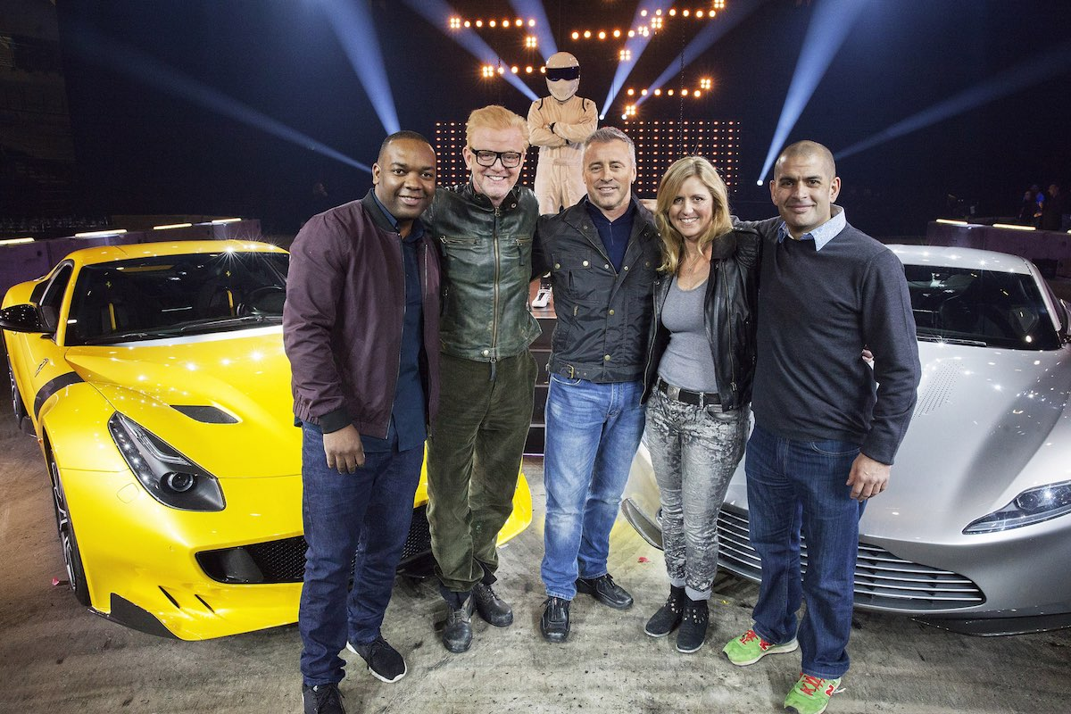 Rory Reid, Chris Evans, The Stig, Matt LeBlanc, Sabine Schmitz, Chris Harris. Image: BBC World Wide