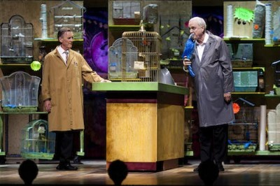 Monty Python Live (mostly) - Michael Palin and John Cleese do the Dead Parrott sketch live at the O2. Image: UKTV/Ludwig Shammasian
