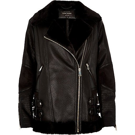 river-island-black-leather-look-aviator-jacket