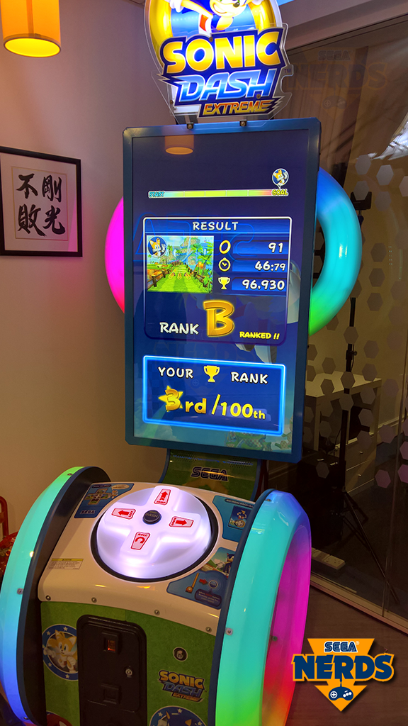 Just before I left, I managed to get a quick go at the Sonic Dash arcade game