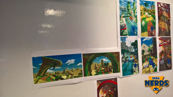 Concept artwork stuck to the wall - based on other 3D Sonic titles