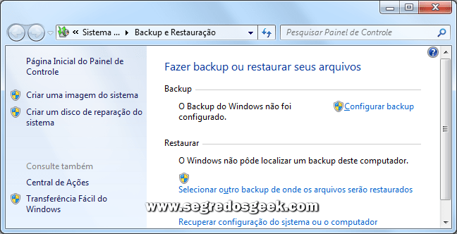 Tela: Software de Backup do Windows.