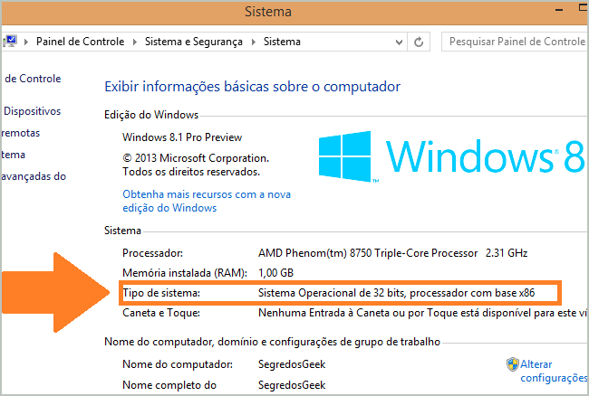 Sistema operacional Windows 32 bits.