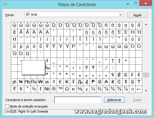 Mapa de caracteres do Windows 8.
