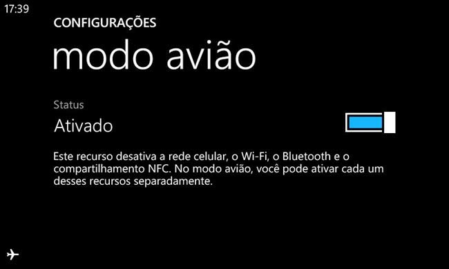 Modo avião do Windows Phone 8.