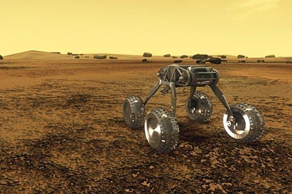 Un rover che potrebbe affrontare il calore intenso di Venere grazie a un dispositivo di raffreddamento Stirling con circuiti elettronici a 200 ° C e radiatore esterno a 500 ° C. Immagine: Geoffrey Landis e Kenneth Mellott dal Glenn Research Center della NASA