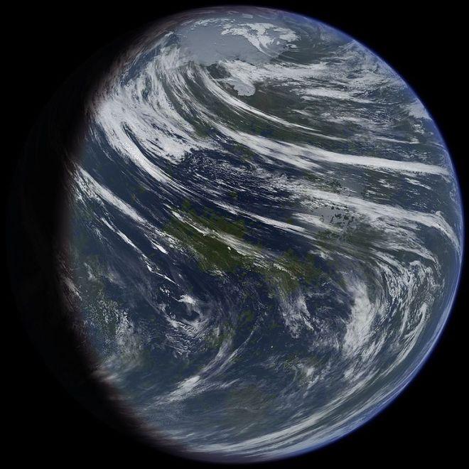 Illustrazione di un ipotetico pianeta Venere terraformato. Immagine tratta da Daein Ballard/Wikimedia Commons.