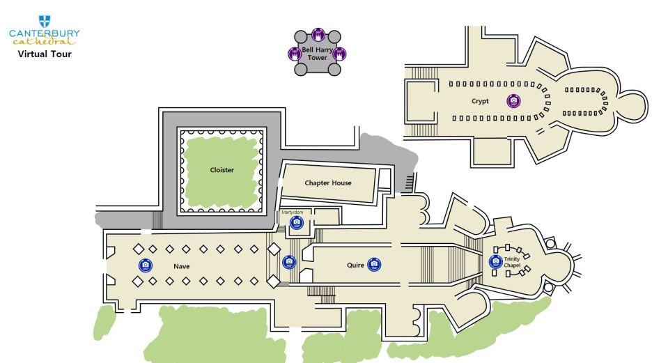 Canterbury Cathedral virtual tours - floor plan screenshot
