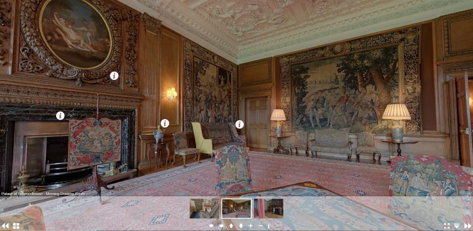 Screenshot of virtual tours to the Palace of Holyroodhouse