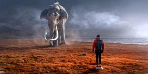 Wanderer mit Mammut/Mastodon