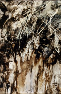 This Asphalt and Alkyd painting, The Rushing of Many Waters by Michael Seiler is an excellent example of his Contemporary fine art, which was part of several exhibitions in galleries and museums and may be seen at Seilers' Studio and Gallery in Zanesville, Ohio.