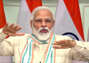 New Delhi, June 26 (ANI): Prime Minister Narendra Modi launches the Atma Nirbhar Uttar Pradesh Rojgar Abhiyaan, to provide employment to migrant workers and those who lost work due to coronavirus lockdown, through video-conference in the presence of Uttar Pradesh Chief Minister Yogi Adityanath, in New Delhi on Friday. (ANI Photo)