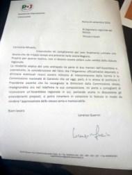 lettera di Guerini a Fanelli