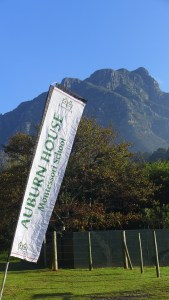 Sign for Auburn House School with Table Mountain in the background