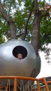 Quinn looking out of a giant silver ball perched in a tree at the playground