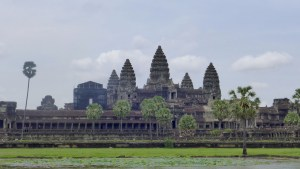Angkor Wat view of five towers and lawn in front