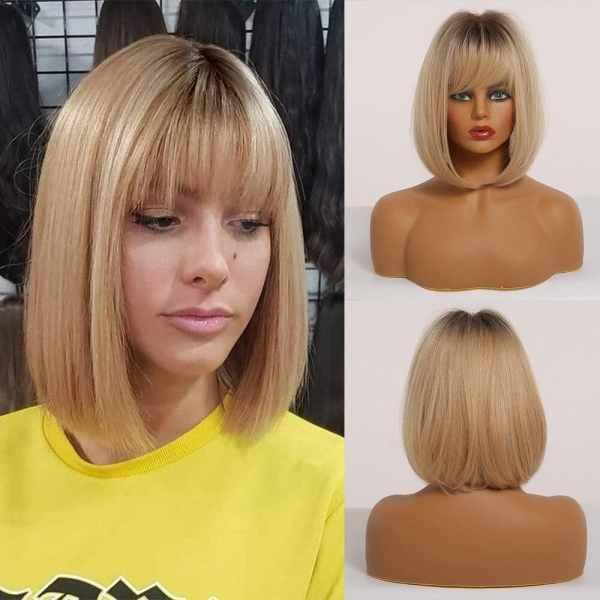Front Lace Wig Fashion Cabelo Sintético Franja Loiro Gold 25cm