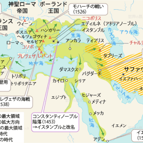 サファヴィー朝 サファヴィー朝国家 オスマン帝国 オスマン帝国の拡大 オスマン帝国とサファヴィー朝の最大領域地図