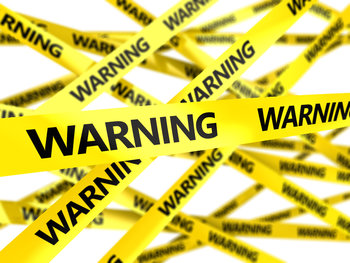 3d illustration of yelow tape with text warning