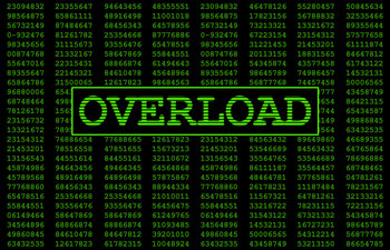 Digital numbers in the background with Overload written in large letters representing what this error message would look like on a computer screen