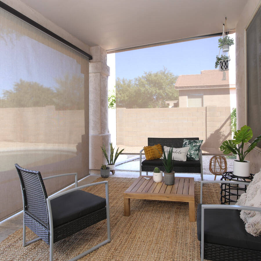 lifestyle outdoor motorized solar roller shades selectblinds com