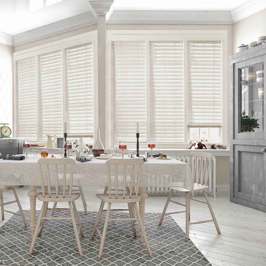 2 luxe modern faux wood blinds