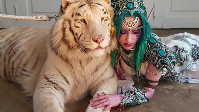 Cosplay da Tyrande com um tigre de verdade - Topo