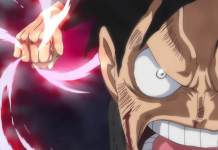 One Piece - Luffy desferindo soco