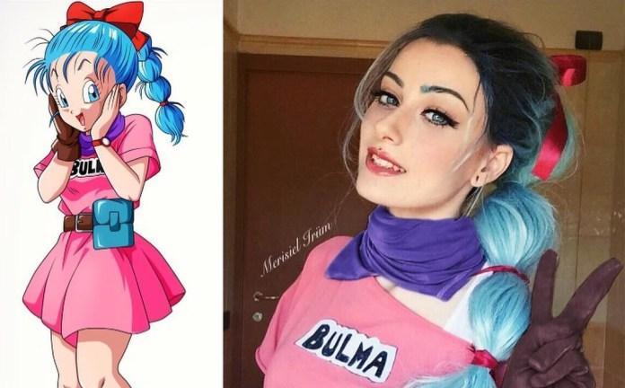 Cosplayer e Personagem - Bulma - Dragon Ball - Cosplay Feminino com Vestido rosa - Topo
